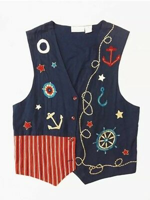 Nautical Vest size Large Navy Blue Embroidered Vest, Maritime, Hipster, Street