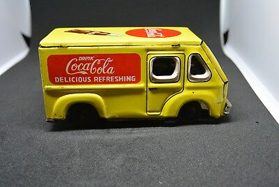 vintage coca cola toy truck, tin van, TT, Japan, friction, 1950s.
