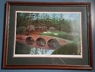"""HAND SIGNED & NUMBERED George Griff Augusta 12th Hole """"Golden Bell"""" Orig. Print"""