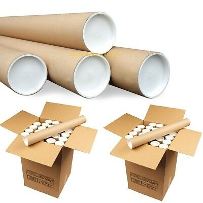 "Cardboard Postal Tubes+Plastic End Caps All Sizes A4 A3 A2 A1 A0 50mm 2"" 76mm 3"""
