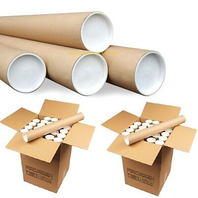 "Cardboard Postal Tubes+Plastic End Caps Strong  A4 A3 A2 A1 A0 50mm 2"" 76mm 3"""