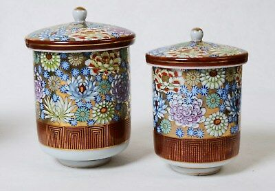 Japanese kutani His & Hers Covered Tea Cups Mid 20 Century Gold & Glaze Overlay