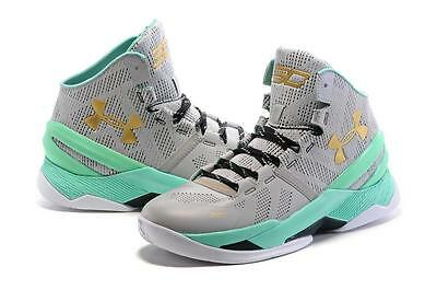 pretty nice 8126a 688a5 NEW BOYS UNDER Armour Shoes Curry 2 Easter Basketball Gray Mint Green NIB