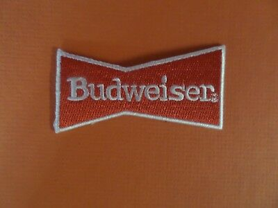 BUDWEISER BEER white & red   Embroidered 1-1/4 x 3 Iron On  Patch