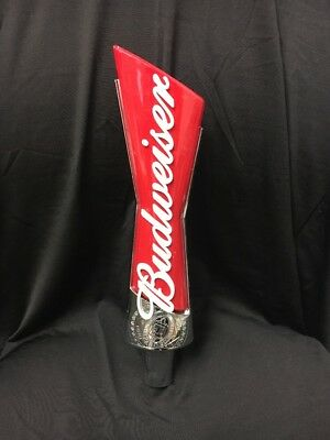 BUDWEISER 12 inch Authentic RED Tap Handle Beer Bar Keg Budweiser CLEAN