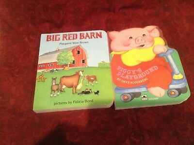 2 Books Big Red Barn STURDY BOARD by Margaret Wise Brown & Piggy's Playground