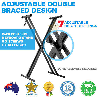Keyboard Stand Piano Double Braced Height Adjustable Portable Folding Music
