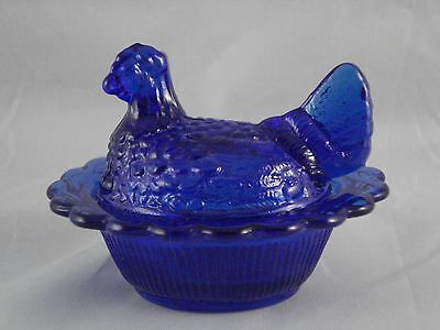 Mosser Cobalt Blue Glass Small Hen On Nest Dish Turned Head Chicken