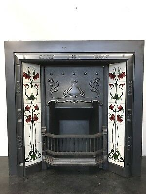 Original Restored Antique Cast Iron Art Nouveau Tiled Insert Fireplace (TA480)