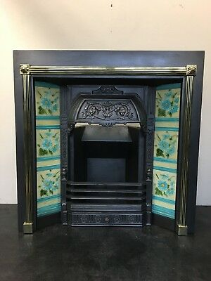 Original Restored Antique Cast Iron Brass Victorian Tiled Insert Fireplace TA482