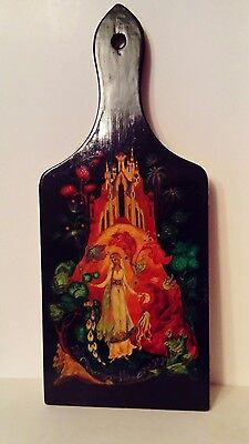 Hand Painted Lacquered Wood Bread Cheese Board Peacock Medieval Fantasy Princess