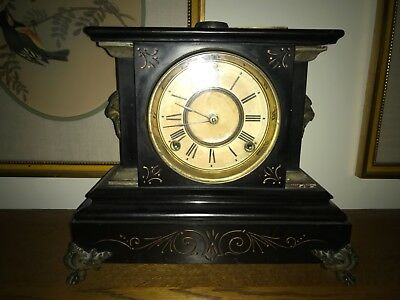 Victorian black marble mantle clock Ansonia estate find NJ lions heads claw feet