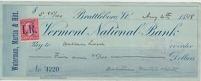 Vermont National Bank of Brattleboro Check, Vermont  1898  Revenue Stamp