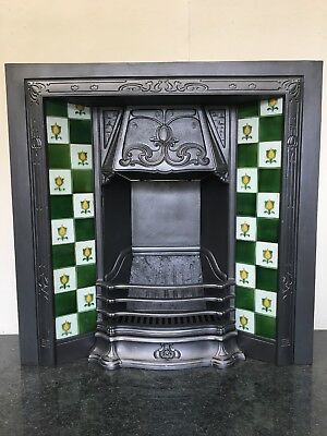 Original Restored Antique Cast Iron Art Nouveau Tiled Insert Fireplace (TA430)