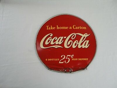 """Vintage 1930's/1940's Coca Cola 25c """"Take Home A Carton"""" 2 Sided 13"""" Metal Sign"""