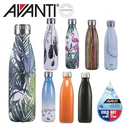 Avanti BPA Free Fluid 500ml Water Vacuum Thermo Bottle Stainless Steel Cold or H