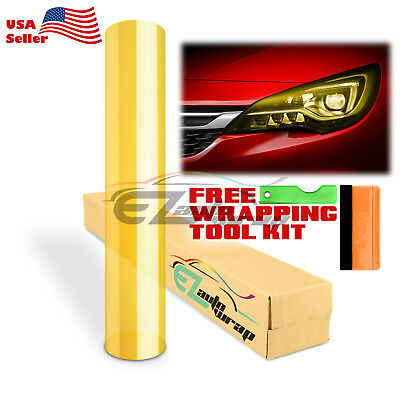 "*12""x12"" Glossy Golden Yellow Tint Headlights Fog Lights Taillight Vinyl Film"