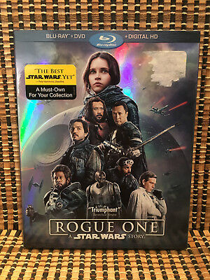 Rogue One: A Star Wars Story (3-Disc Blu-ray/DVD,2017)+Embossed Slipcover.Disney