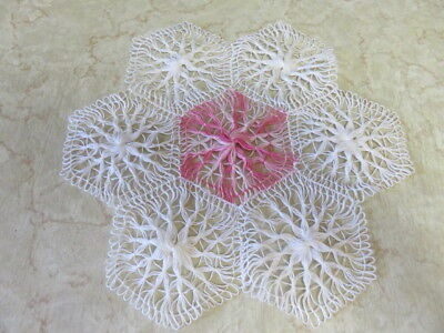 "Vintage  Doily -  White - Pink - 11"" By 10"""