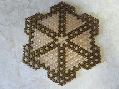 "VINTAGE BEADED DOILY  - BROWN - 8"" by 7"""