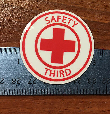 "SAFETY THIRD lot of 5 hardhat stickers 2"" round decals funny construction union"