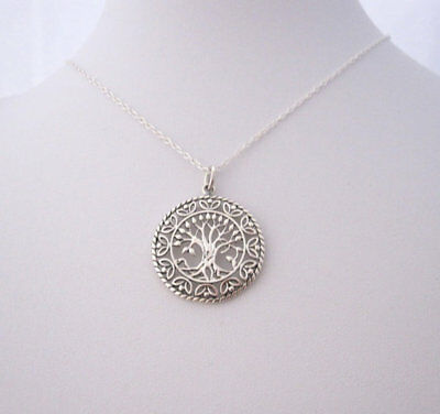 925 sterling silver ornate TREE OF LIFE pendant with chain necklace