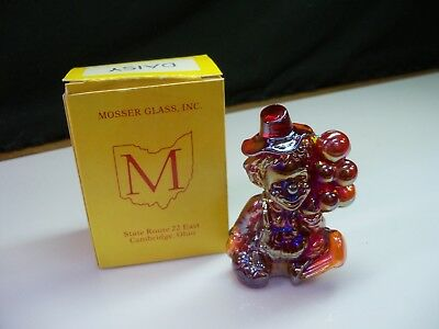 Daisy Mosser Clown Collectible Figurine With Box - Red Carnival Glass