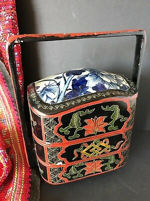 Old Chinese Two Section Lacquered Lunch Box with Carry Handle …beautiful collect