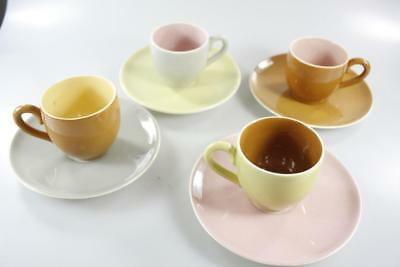 MARTIN BOYD AUSTRALIAN POTTERY COLORFUL TEA CUP AND SAUCER 8 Pc. SET SIGNED