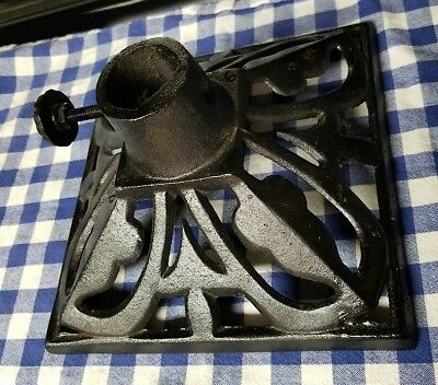 "Vintage Black Cast Iron Christmas Tree Stand - Victorian - 9.25"" wide - 5 lbs."