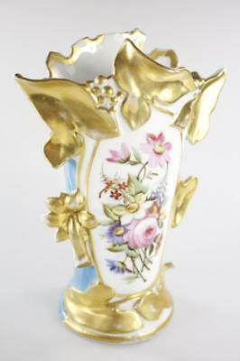 ANTIQUE 19th Century FRENCH HANDPAINTED GOLD GILDED TURQUOISE VASE