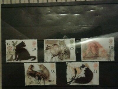 1995 GB Cats stamps used