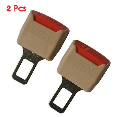 2x Car Seat Belt Extension Clip Extender Buckle & Safety Alarm Stopper Brown+Red