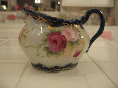 Beautiful Vintage Nippon Blue Cobalt With Gold Trim And Roses Creamer Pitcher