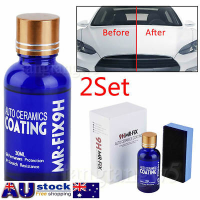 AU!! 2set Car Care Super Hydrophobic Liquid Ceramic Glass Coating Wax Coat Paint