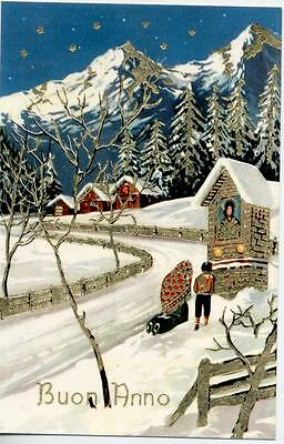Amazing Winter Landscape with Snow Xmas Glossy Gold Embossed PC Circa 1930 C
