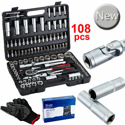 "108 Pieces 1/2""&1/4"" Bit Torx Tool Socket Drive Sockets Set Ratchet Driver Kits"
