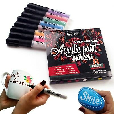 Permanent Paint Pens for Glass painting, Ceramic, Porcelain, Rock, Wood, Fabric,