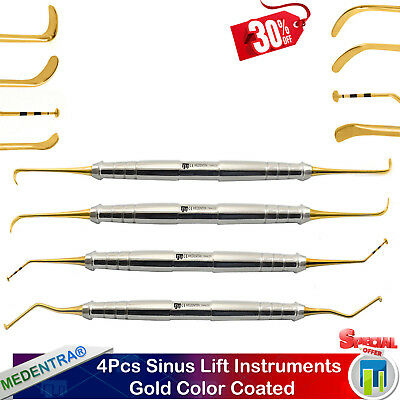 4Pcs Sinus Lift Elevators Dental Oral Implantology Instruments Scalers Lab Gold