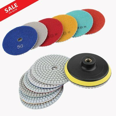 "4"" 8 Piece Diamond Polishing Pads Wet/Dry Set Granite Stone Concrete Marble MX"