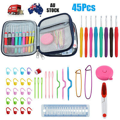45pcs Crochet Hooks Kit Yarn Knitting Needles Sewing Tools Grip Set With Bag NEW
