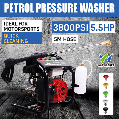 WACWAGNER 5.5HP 3800 PSI Petrol High Pressure Water Washer Cleaner 10m Hose AUS