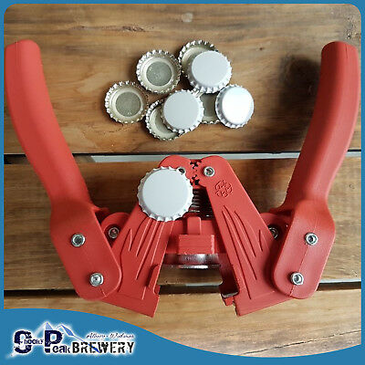 Twin Lever, Hand Held Bottle Top Capper + 100 White Crown Seal Bottle Caps