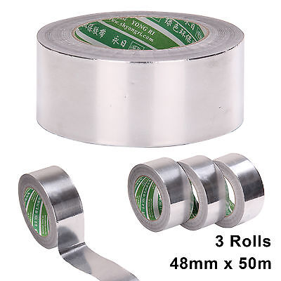 3Big Rolls 48mmx50m Aluminium Foil Self Adhesive Heat Insulation Tape duct NEW