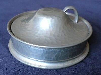 1930s Arts & Crafts Beaten Pewter Butter Dish with Glass Liner by My Lady