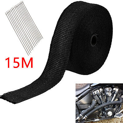 15M Titanium Heat Wrap Exhaust Manifold Black Insulating Tape+10 Cable Ties 30Cm