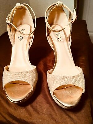 Rose gold glitter heels by Rouge size 12. 5 inch heels.