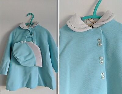 GREAT vtg 1960s TURQUOISE BLUE GIRLS COAT AND BONNET HAT MOD CRIMPLENE 2-3 YEARS