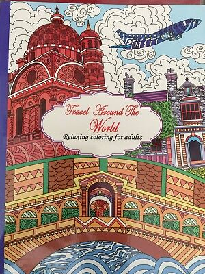 New - Colouring Book For Adults - Travel Around The World - Great Fun
