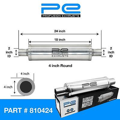 """2"""" (50mm) 4x14""""inch Round Universal Stainless Steel Profusion Exhaust Silencer"""